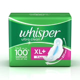 Whisper Ultra Sanitary Pads Xl Plus Wings (7's Count)