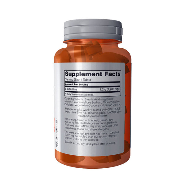 Now Foods, L-Citrulline, Extra Strength, 1,200 mg, 120 Tablets - Bloom Concept