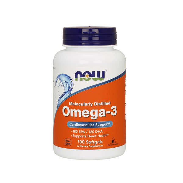 NOW Foods Omega-3, 180 EPA/120 DHA, Molecularly Distilled,100 Softgels - Bloom Concept