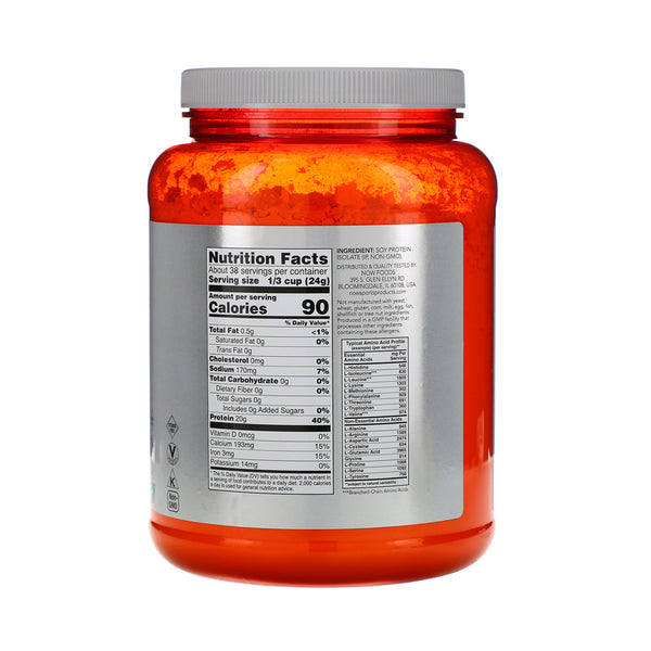 Now Foods, Sports, Soy Protein Isolate, Natural Unflavored, 2 lbs (907 g) - Bloom Concept
