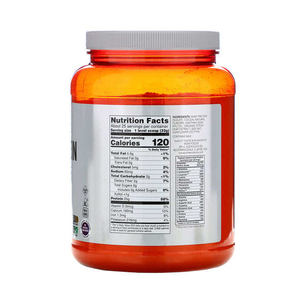Now Foods, Sports, Whey Protein Isolate, Dutch Chocolate, 1.8 lbs (816 g) - Bloom Concept