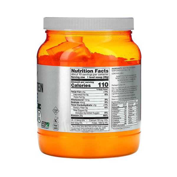 Now Foods, Sports, Whey Protein Isolate, Natural Unflavored, 1.2 lbs (544 g) - Bloom Concept
