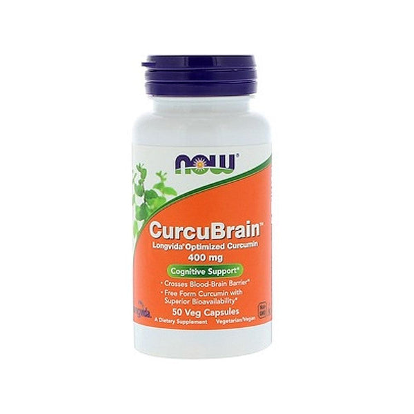 Now Foods, CurcuBrain, Cognitive Support, 400 mg, 50 Veg Capsules - Bloom Concept
