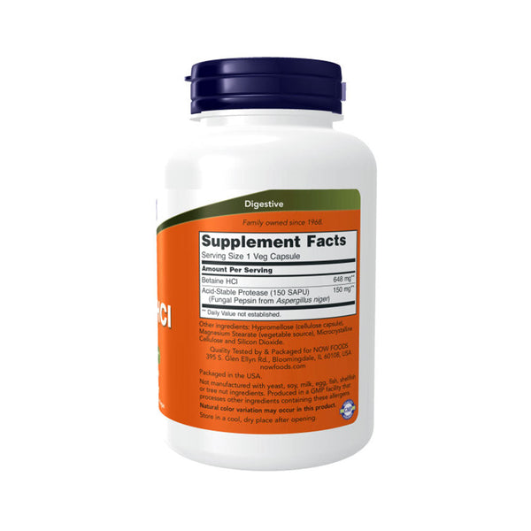 NOW Foods Betaine HCL 648 mg 120 Capsules - Bloom Concept