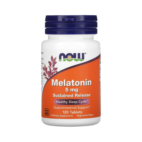 NOW Foods Melatonin 5 mg Sustained Release, 120 Tablets - Bloom Concept