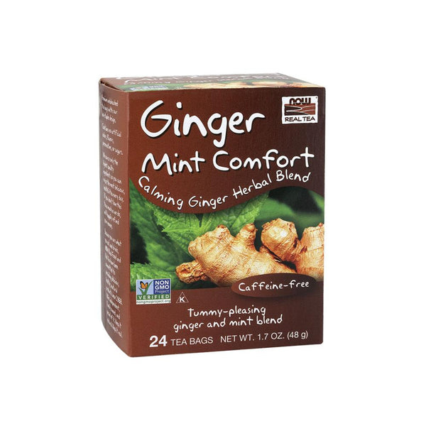 Now Foods, Ginger Mint Comfort Tea, 24 Tea Bags, 1.7 oz (48 g) - Bloom Concept