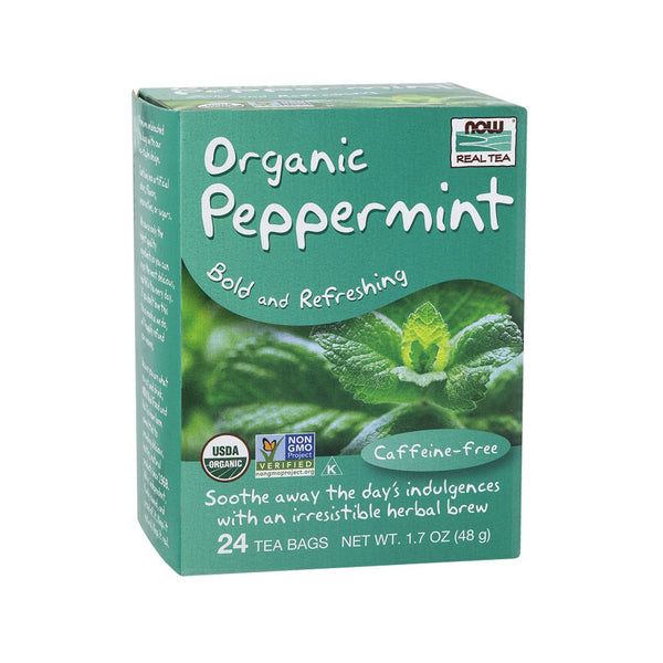 Now Foods, Organic Peppermint Tea, 24 Tea Bags, 1.7 oz (48 g) - Bloom Concept