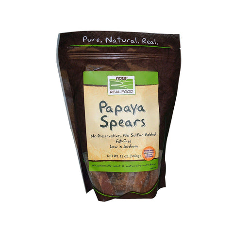 Now Foods, Real Food, Papaya Spears, 12 oz (340 g) - Bloom Concept
