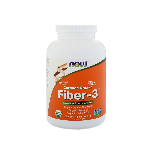 Now Foods, Certified Organic, Fiber-3 Powder, 16 oz (454 g) - Bloom Concept