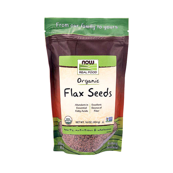 Now Foods, Real Food, Certified Organic Flax Seeds, 16 oz - Bloom Concept