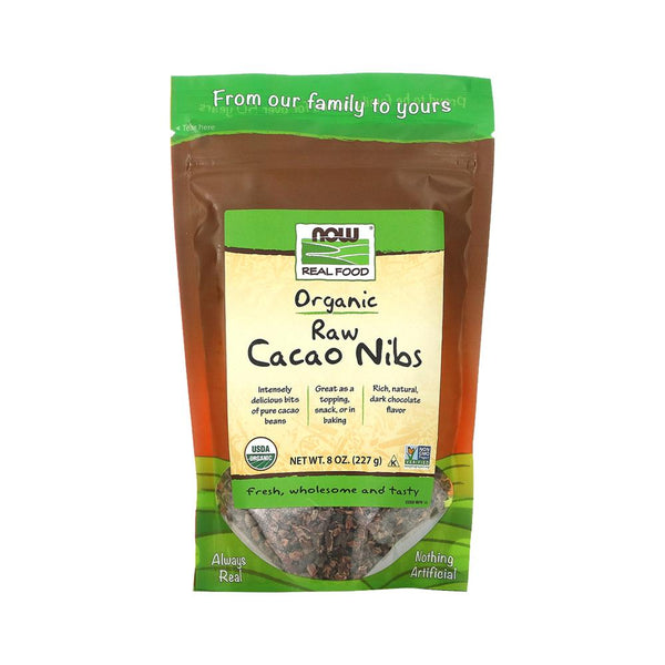 Now Foods, Real Food, Organic, Raw Cacao Nibs, 8 oz (227 g) - Bloom Concept