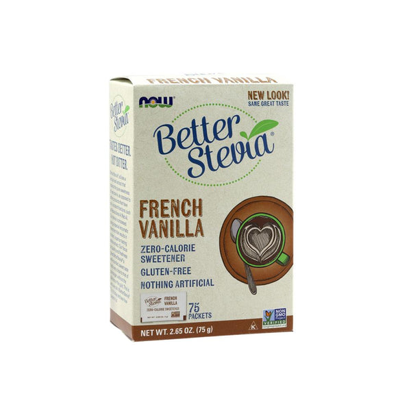Now Foods, Better Stevia, French Vanilla, 75 Packets, 2.65 oz (75 g) - Bloom Concept