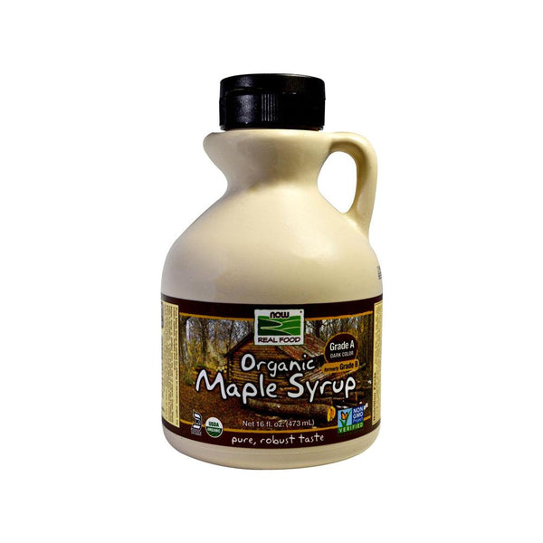 Now Foods, Real Food, Organic Maple Syrup, Grade A, Dark Color, 16 fl oz (473 ml) - Bloom Concept