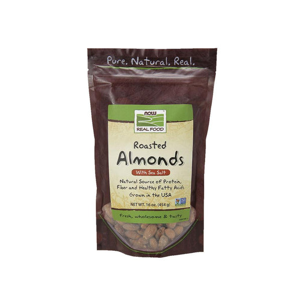 Now Foods, Real Food, Roasted Almonds, with Sea Salt, 16 oz (454 g) - Bloom Concept