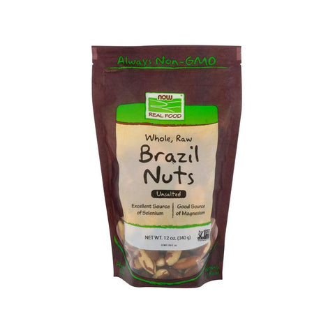 (P) Now Foods, Real Food, Whole, Raw Brazil Nuts, Unsalted, 12 oz (340 g) - Bloom Concept