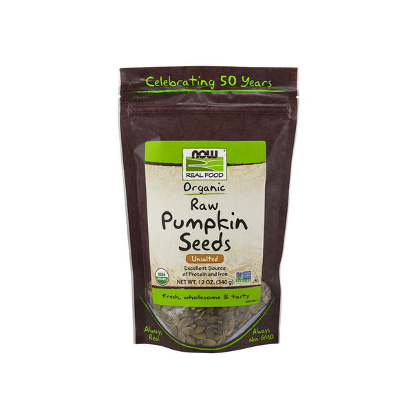 Now Foods, Real Food, Organic, Raw Pumpkin Seeds, Unsalted, 12 oz (340 g) - Bloom Concept