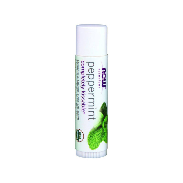 Now Foods, Solutions, Completely Kissable, Organic Lip Balm, Peppermint, 0.15 oz (4.25 g) - Bloom Concept