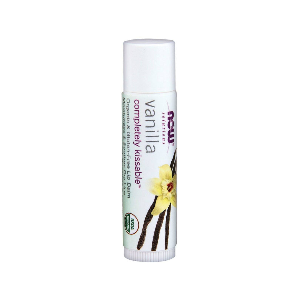 Now Foods, Solutions, Completely Kissable, Organic Lip Balm, Vanilla, .15 oz (4.25 g) - Bloom Concept