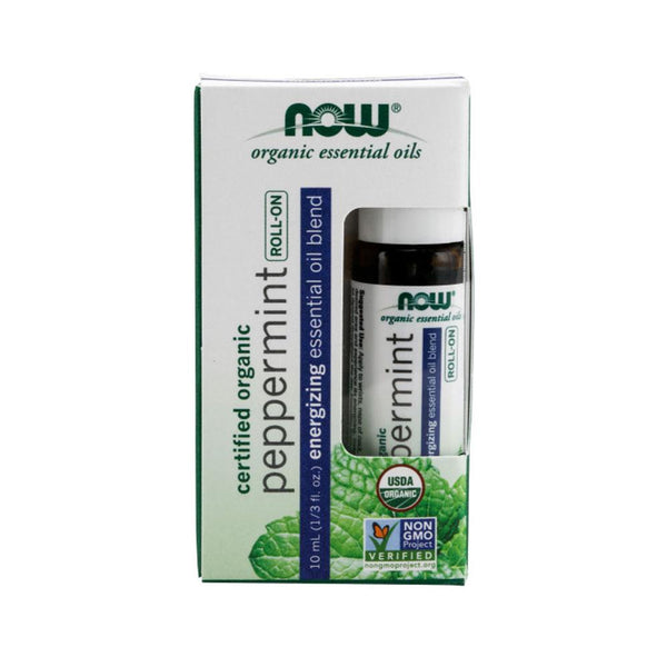 Now Foods, Peppermint Essential Oil Blend, Organic Roll-On , 1/3 fl oz (10 ml) - Bloom Concept