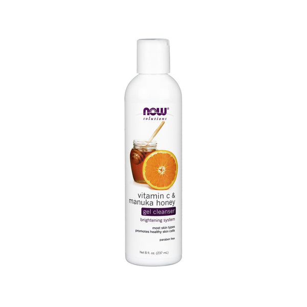 Now Foods, Solutions, Gel Cleanser, Vitamin C & Manuka Honey, 8 fl oz (237 ml) - Bloom Concept