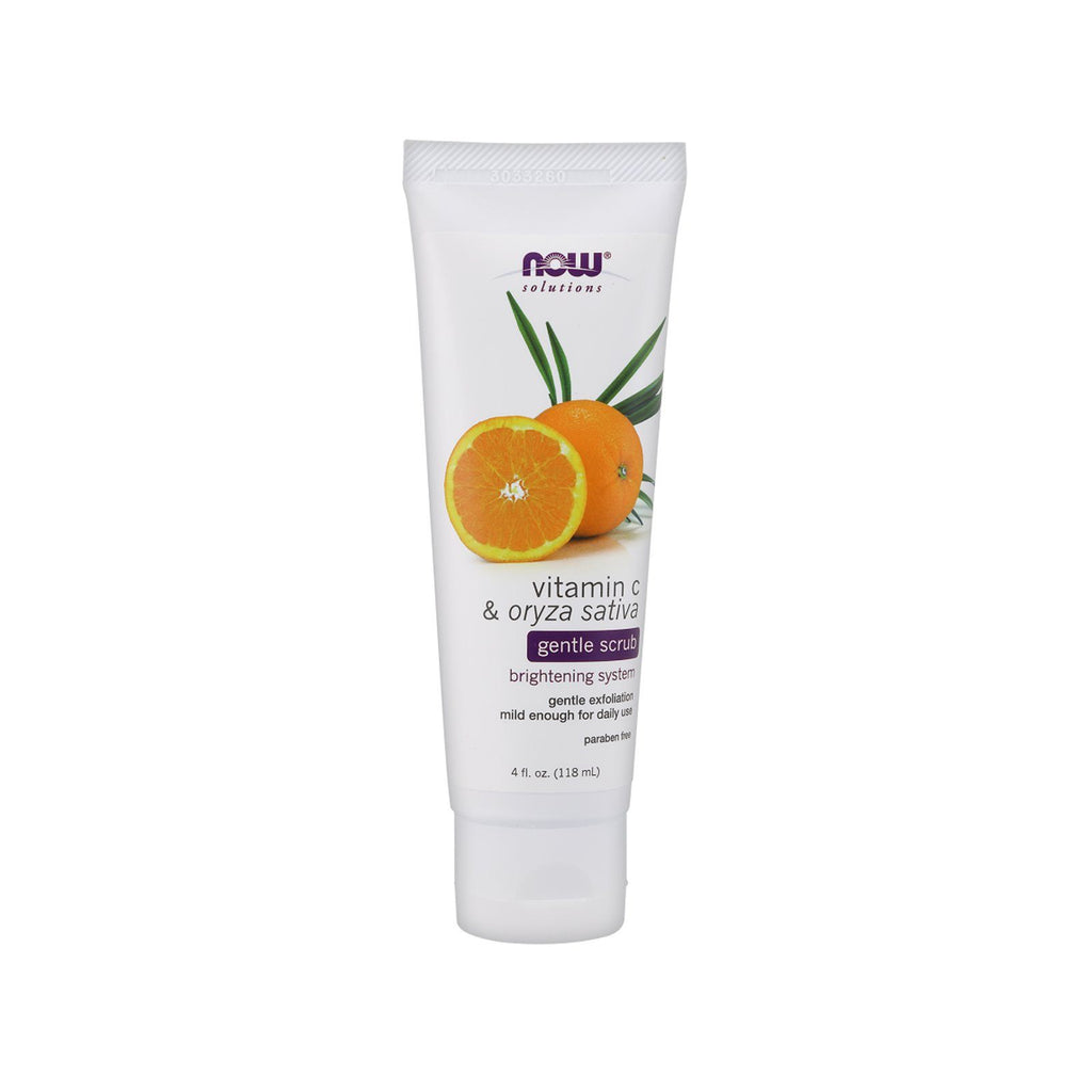 Now Foods, Solutions, Gentle Scrub, Vitamin C & Oryza Sativa, 4 fl oz (118 ml) - Bloom Concept