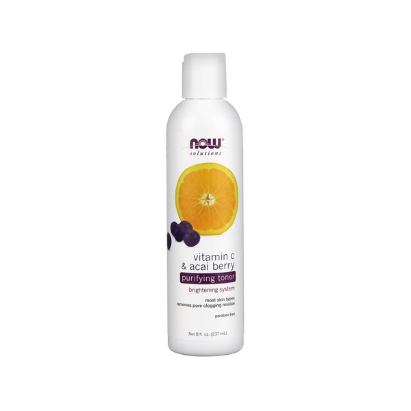 Now Foods, Solutions, Purifying Toner, Vitamin C & Acai Berry, 8 fl oz (237 ml) - Bloom Concept