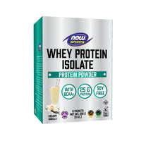 Now Foods, Sports, Whey Protein Isolate, Creamy Vanilla, 8 Packets, 9 oz (256 g) - Bloom Concept