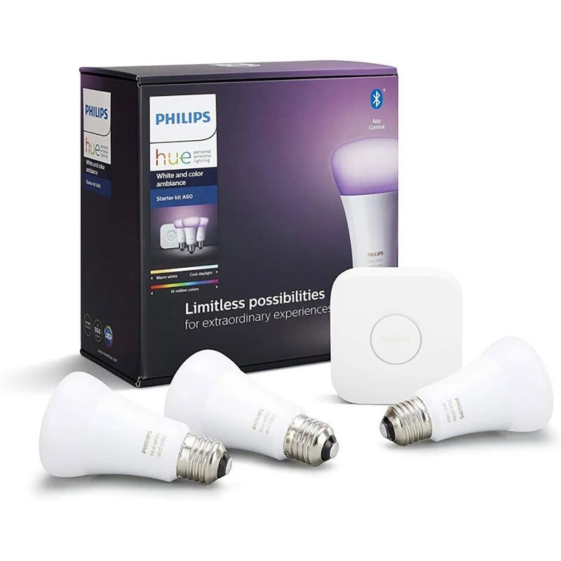 Philips Hue White and Color Ambiance Starter Kit with Bluetooth 9W A60 E27