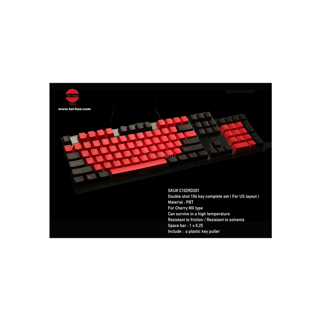 Tai-Hao Doubleshot PBT 104 Keycaps + 2 Keys Puller (Black & Red)