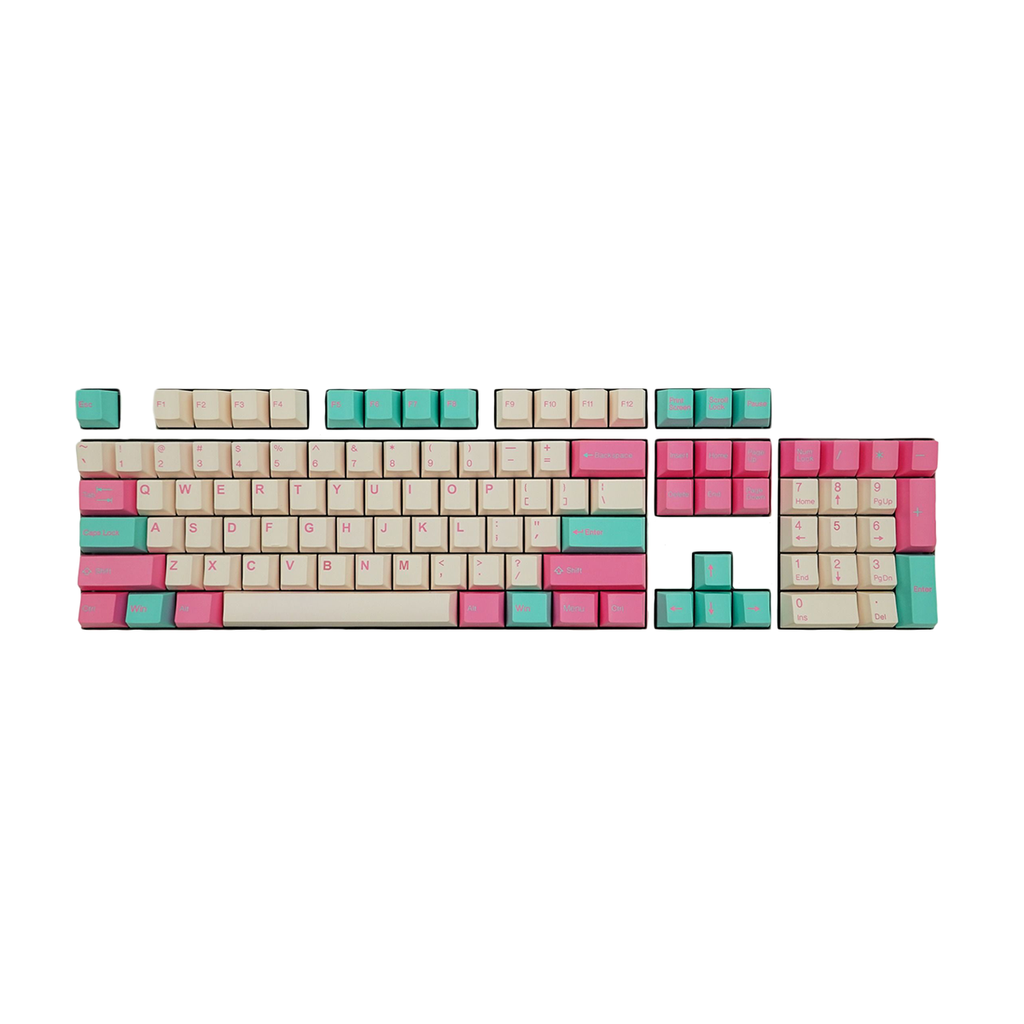 Tai-Hao Doubleshot ABS Cubic Profile 104 Keycaps + 1 Keys Puller (Blue + Pink)