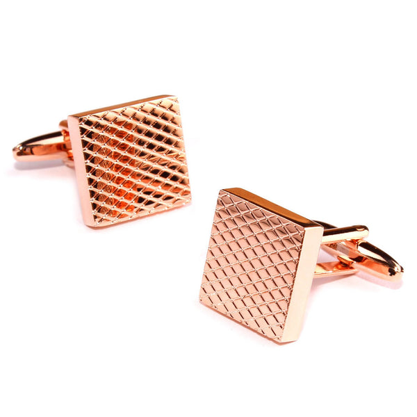 Rose Gold Square Studded Cufflinks