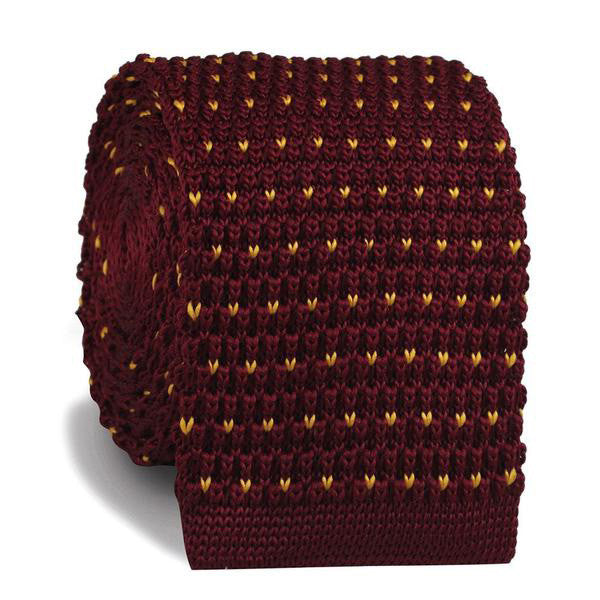 Maroon Gold Speckled Knitted Tie - TheSavvy.be