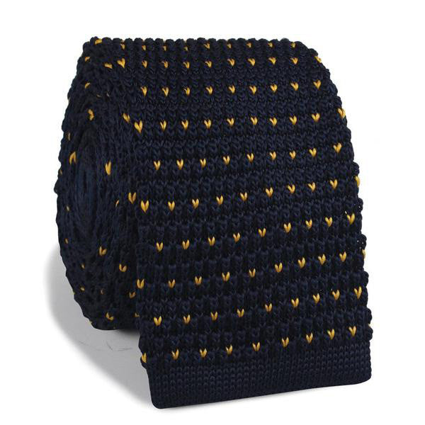 Navy Blue Gold Speckled Knitted Tie - TheSavvy.be