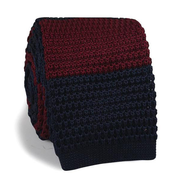 Navy Blue Maroon Striped Knitted Tie - TheSavvy.be