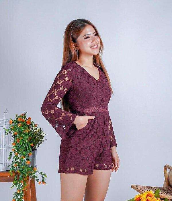 Kitty maroon lace jumpsuit