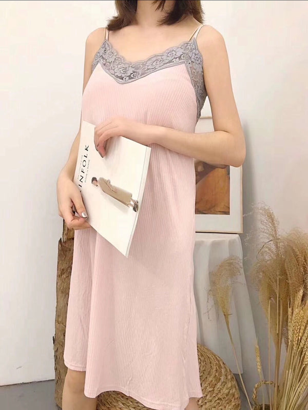 Dusty pink lace daster - JUSYCO, Default - womenwear, Default - womenfashion