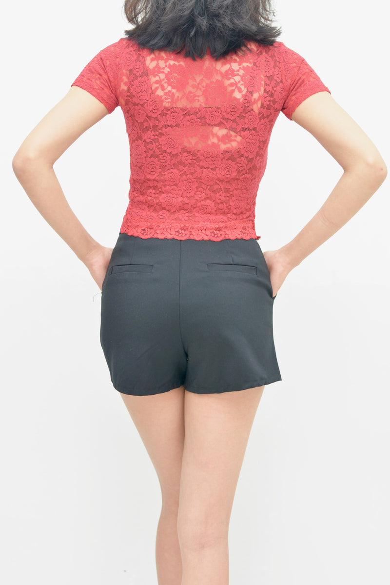 Tessa red lace top - JUSYCO, Default - womenwear, Default - womenfashion