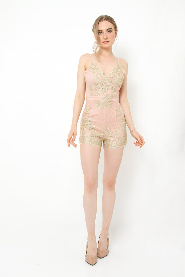 Jaipur gold pink jumpsuit - JUSYCO, Default - womenwear, Default - womenfashion