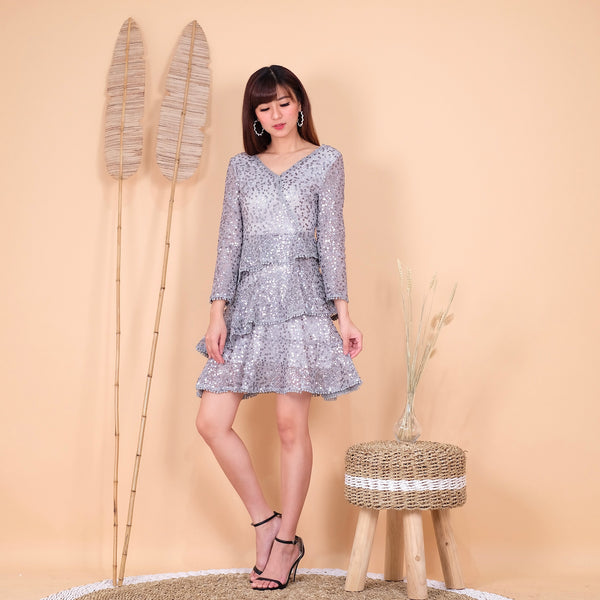 Raquel sequin silver dress - JUSYCO, Default - womenwear, Default - womenfashion