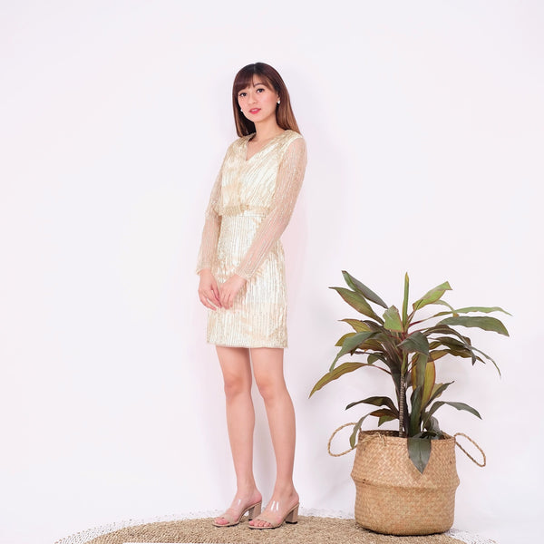 Alexa glitter gold dress - JUSYCO, Default - womenwear, Default - womenfashion