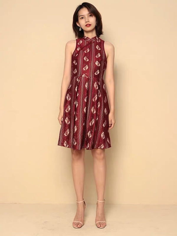 Willow maroon qipao - JUSYCO, Default - womenwear, Default - womenfashion
