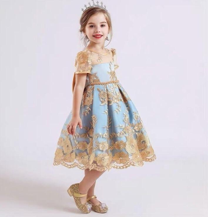Dress pesta party anak perempuan/dress princes anak/gold bordir pitta belakang