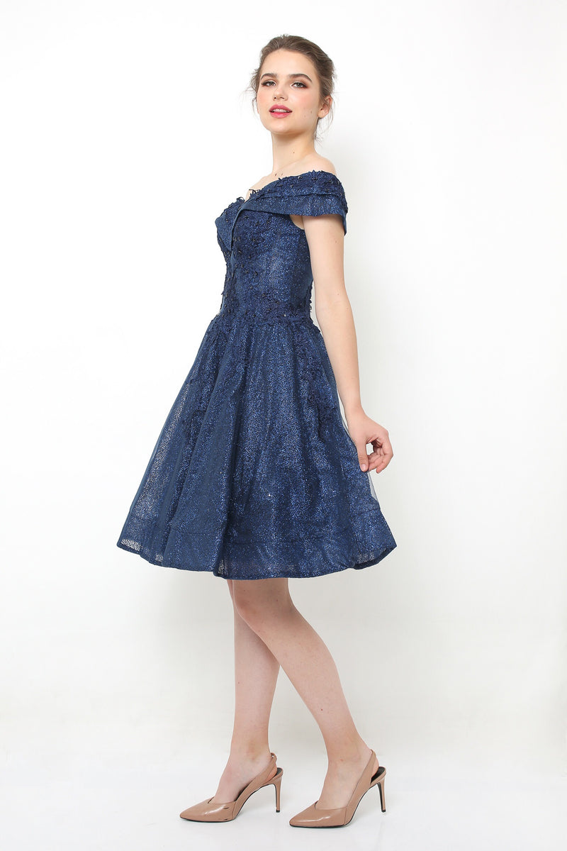 Luna glitter navy gown - JUSYCO, Default - womenwear, Default - womenfashion