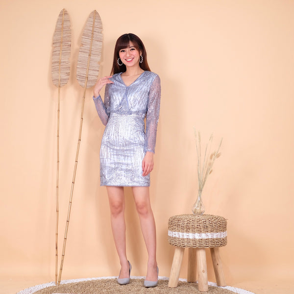 Alexa glitter blue dress - JUSYCO, Default - womenwear, Default - womenfashion