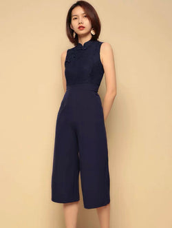 Meiling navy qipao jumpsuit