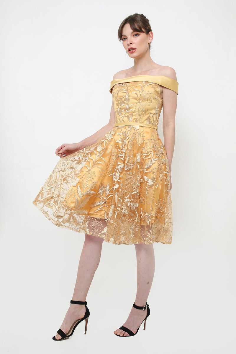 Peony gold gown - JUSYCO, Default - womenwear, Default - womenfashion