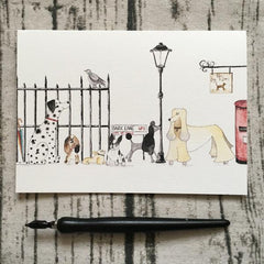 Greetings Card in City Dogs by Illustrator Abi Purrington