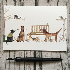 Greetings Card in Countryside Dogs by Illustrator Abi Purrington