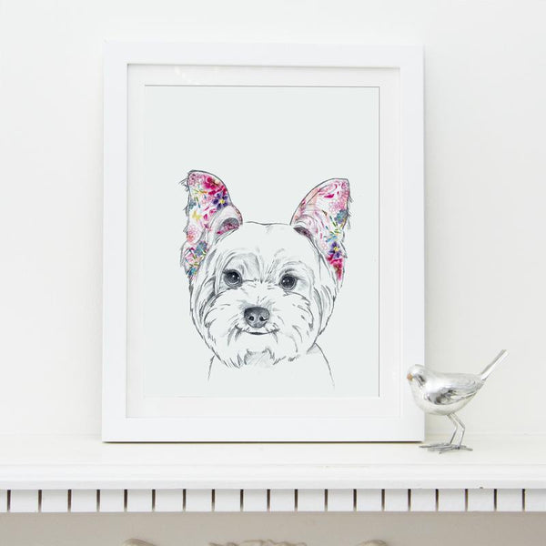 Fine art illustration print of white westie with colourful pink floral ears