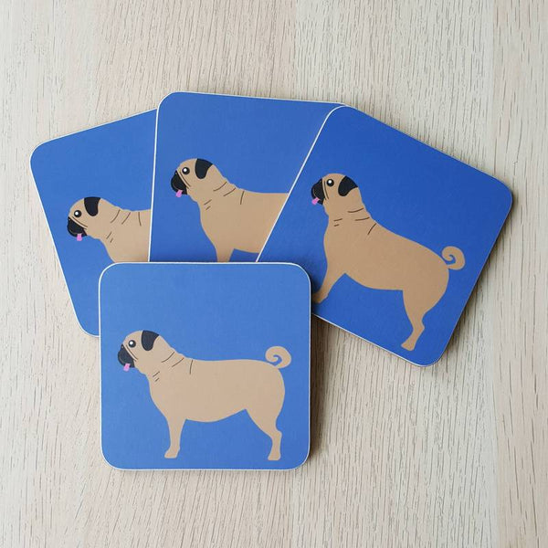 Blue coasters with pug design